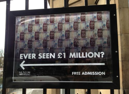 The sign to the money museum