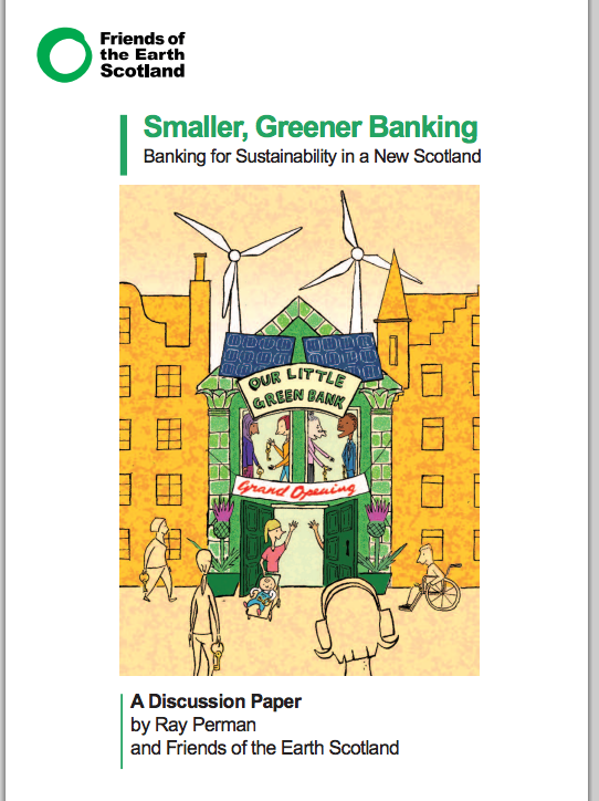 Cover of Smaller Greener Banking, a drawing with windmills behind a welcoming building