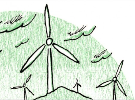 A drawing of windmills, black outlines against a green hilly background