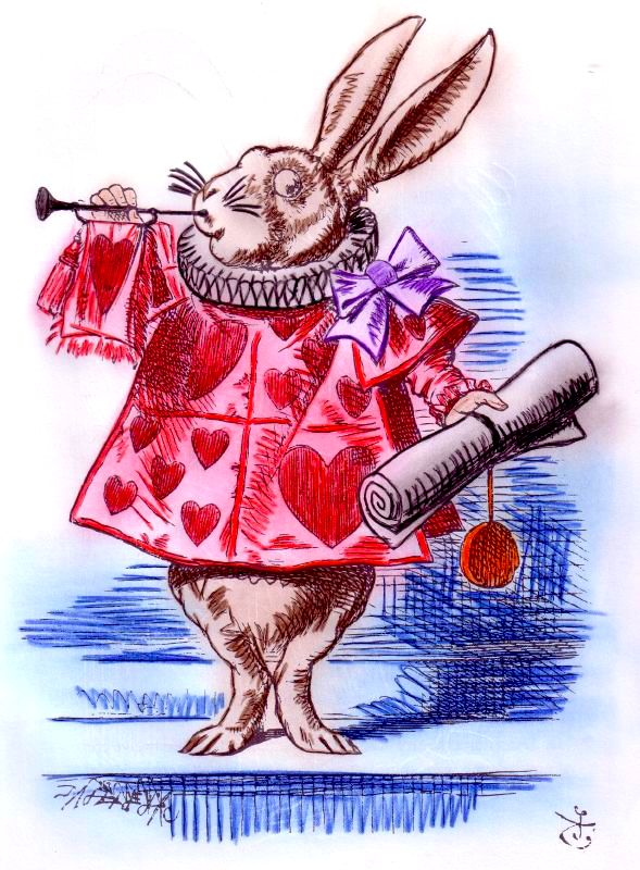 The Rabbit from Alice in Wonderland, bearing scroll. Image by Kimberly, CC By-SA 2.0